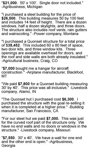 quonset building pricing